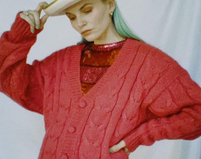 Vintage 80s | Fuchsia Handknit Mohair Cardigan