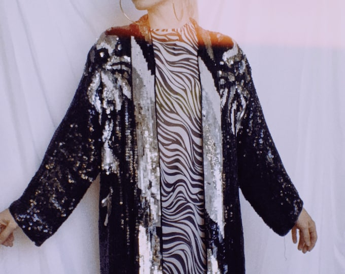 Vintage 80s Silk Fully Sequined Duster