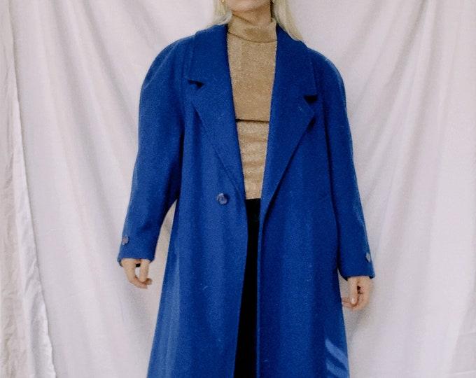 Vintage 80s | Cobalt Blue Wool Coat