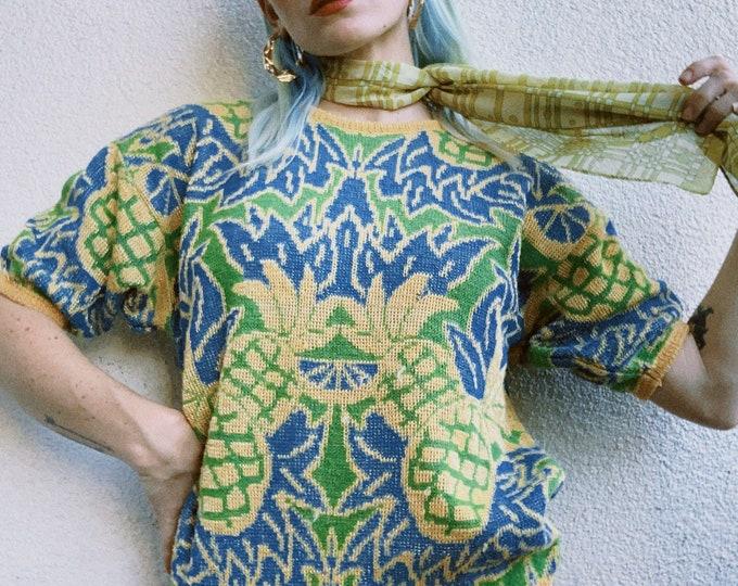 Vintage Pineapple Short Sleeve Sweater