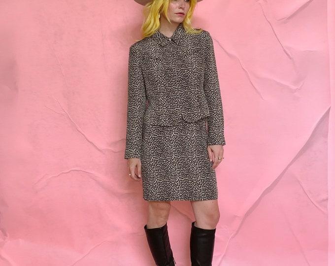90s Cheetah Silk Skirt Suit
