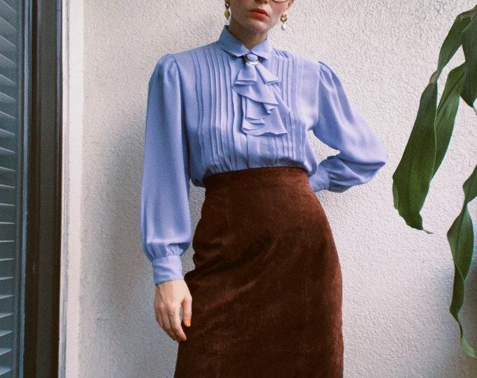 80s Chocolate Brown Suede Midi Skirt