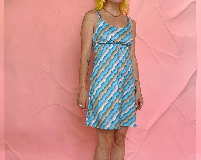 90s Fredricks of Hollywood Wavy Blue Slip Dress