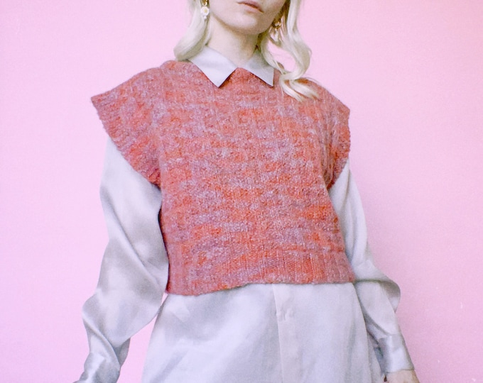 Vintage Handknit Cropped Sweater Vest