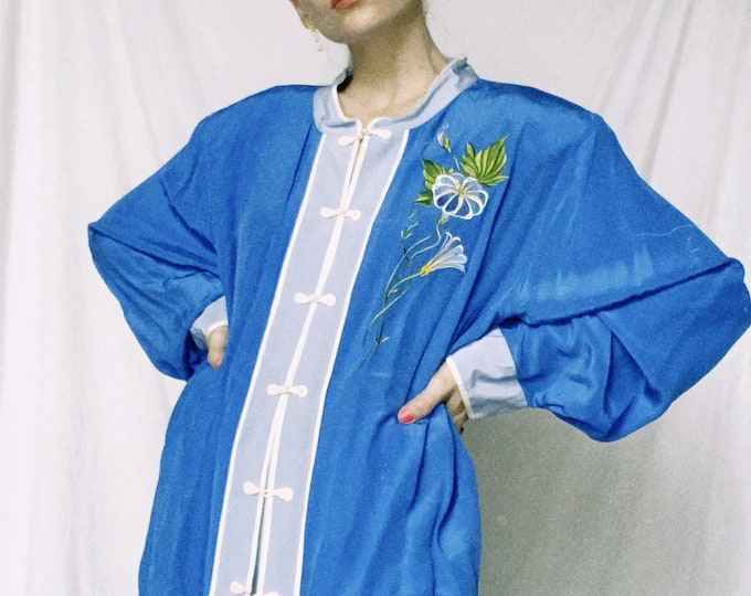 Vintage Bob Mackie Blue Embroidered Blouse