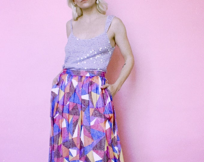 Vintage 90s | Colorful Geometric Midi Skirt