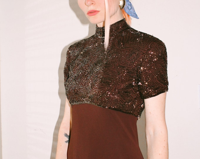 Vintage   Brown Beaded Evening Gown