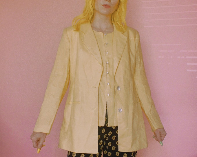 90s Yellow Linen Blazer