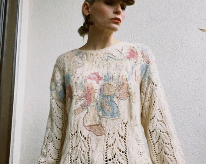 Vintage 80s | Open Weave Sweater