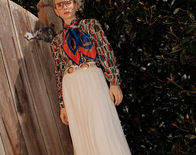 Vintage 1980s | Cream Wool Pleated Skirt