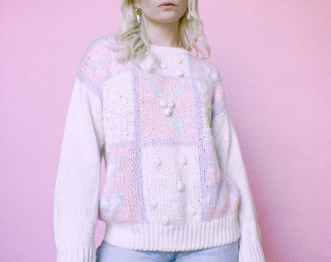 Vintage 80s | Hand Knit Sweet Patchwork Sweater