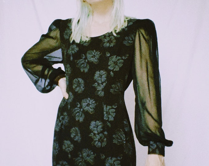 Vintage 80s | Black Floral Sheer Sleeve Mini Dress