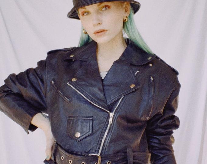 Vintage 90s   Black Leather Cropped Moto Jacket
