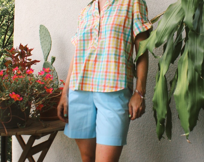 Vintage 90s | Colorful Gingham Cotton Shirt