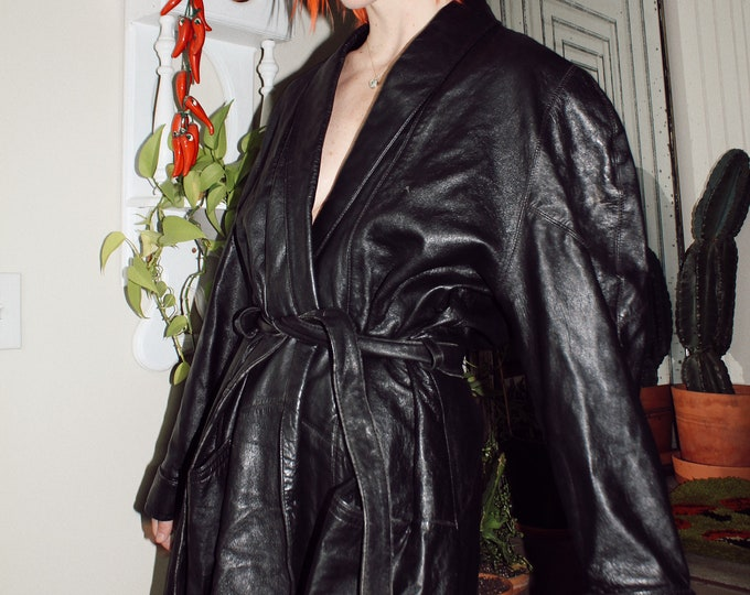 Black Leather Coat with Tie
