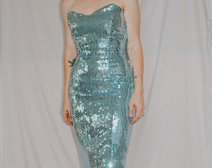 Vintage 80s | Baby Blue Sequined Gown