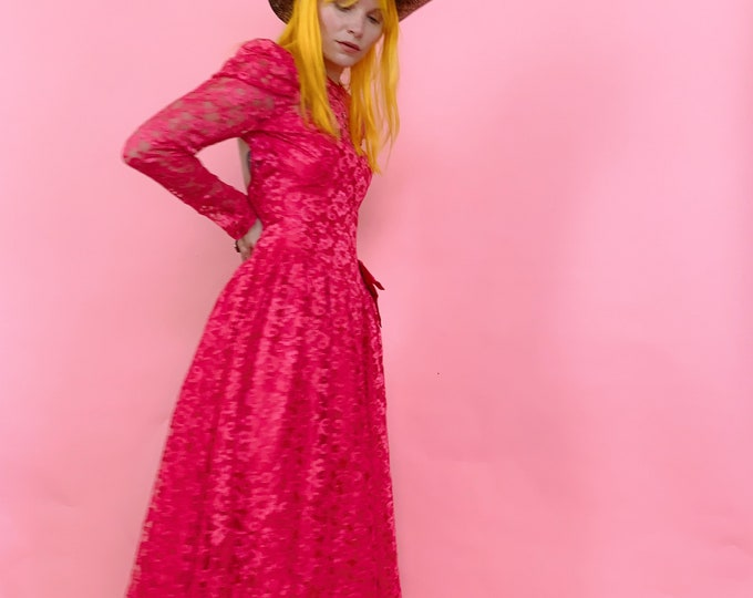 80s Neon Pink Lace Dress