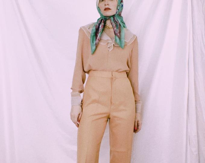 Vintage 70s High Waist Tan/Blush Pants