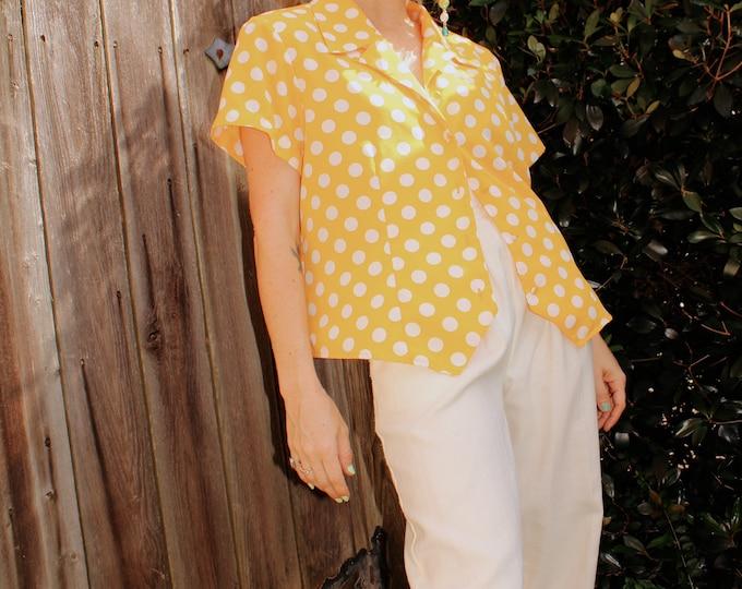 Vintage 1980s | Yellow Polka Dot Shirt