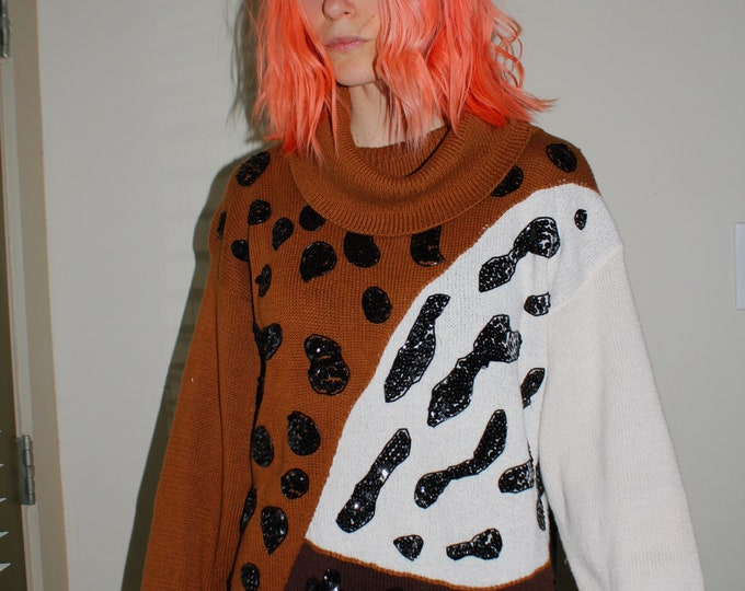 Vintage   Color Block Sequined Animal Print Sweater