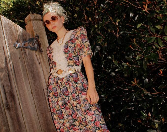 Vintage 80s | Floral Fit & Flare Cottagecore Dress