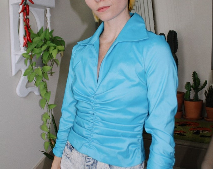 Metallic Blue Rouched Blouse