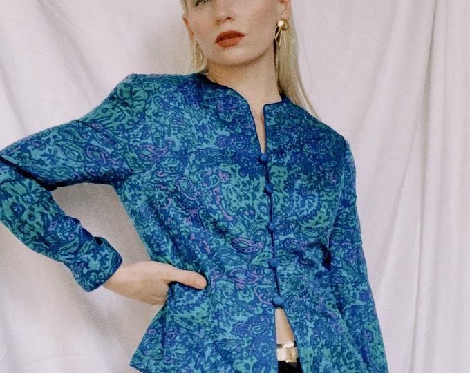 Vintage 90s | Blue & Purple Silk Top