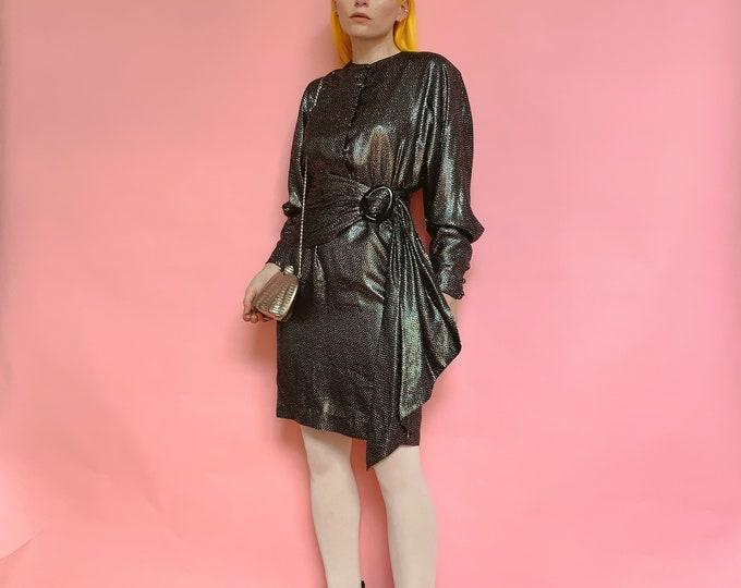 80s Jean-Louis Scherrer Boutique Silk Dress