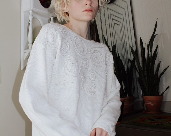 Beaded White Sweater