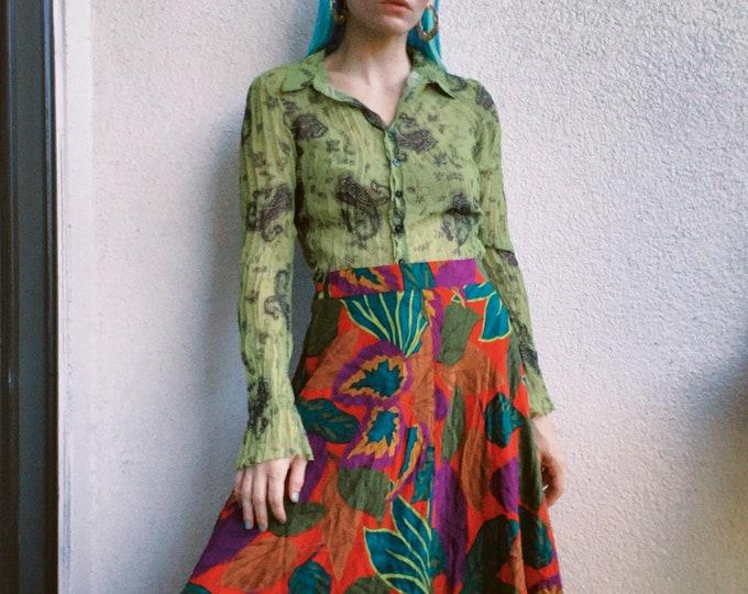 Vintage 80s | Silk Midi Skirt