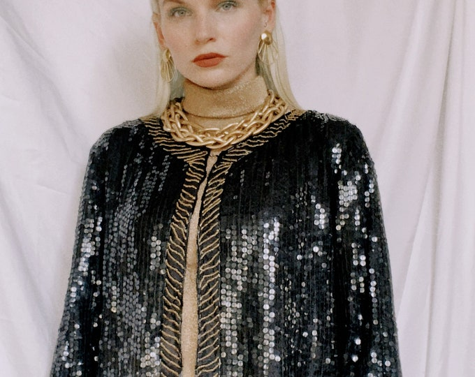 Vintage 70s | Silk Sequined Cropped Jacket