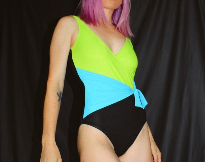 Vintage Color Block One-Piece Swimsuit