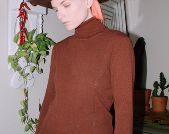 Brown Chenille Cropped Turtleneck Vintage 90s Maurices Women/'s Size Medium