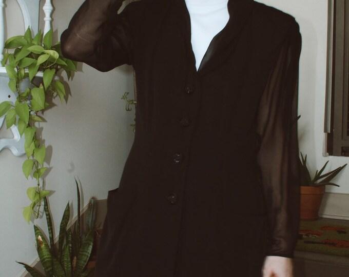 Sheer Sleeved Black Blazer