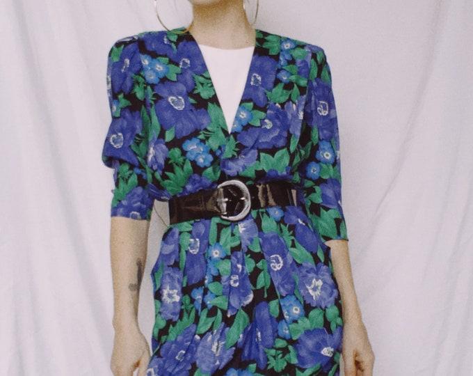 Vintage 80s | Belted Floral Dress