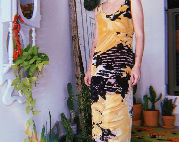 Abstract Maxi Slip Dress