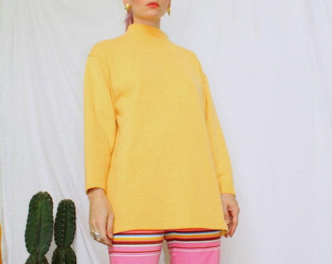Vintage 90s | Mustard Yellow Cotton Mockneck Ribbed Knit