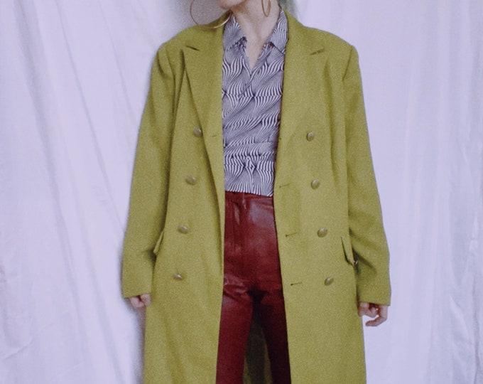 Vintage 80s Green Longline Coat
