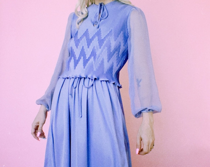 Vintage 60s | Periwinkle Poly Dress w/ Micro Pleats and Sheer Sleeves