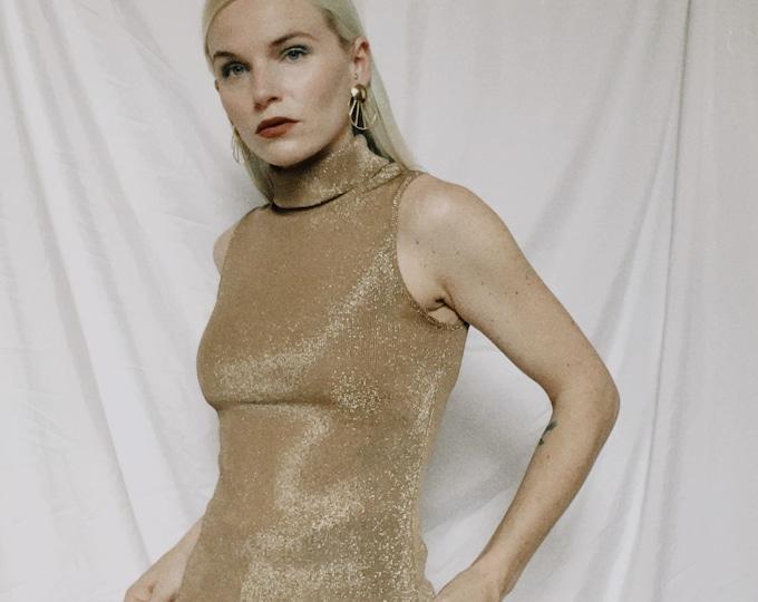 Vintage 90s | Gold Metallic Sleeveless Turtleneck