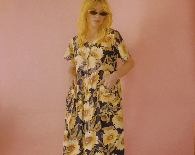 80s Phases Sunflower Cotton Dress