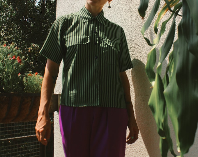 Vintage 90s | Green/Black Striped Shirt