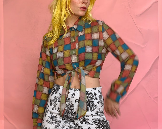 Colorful 90s Check Cropped Blouse with Tie