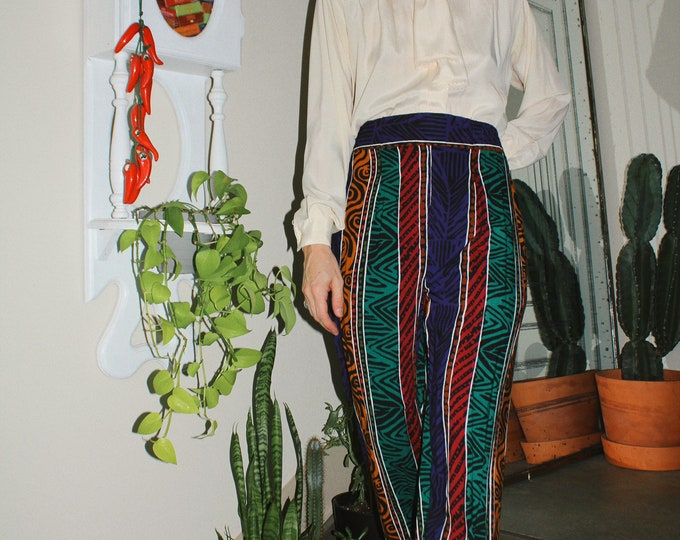 Vintage 90s | Printed Rayon Pants