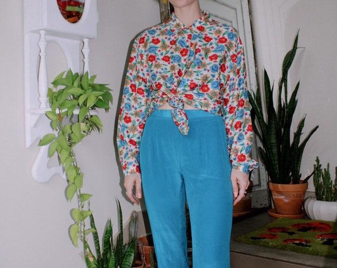 Blue Silk Pants with Appliqué