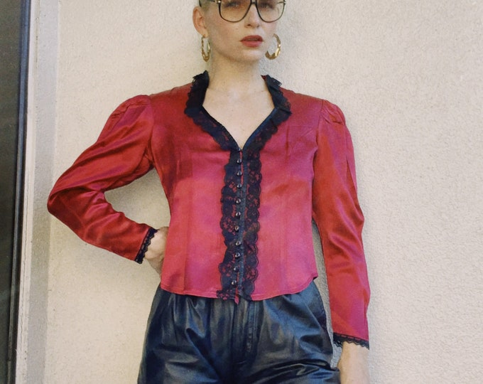 Vintage 70s | Wine Satin and Black Lace Cropped Blouse
