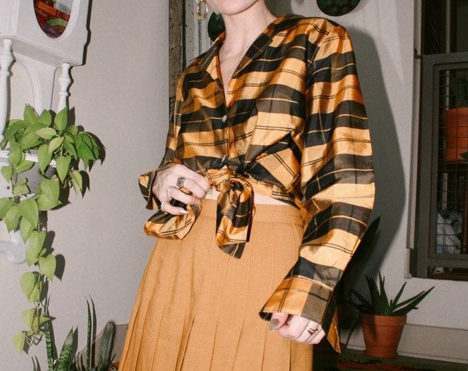 Pleated congnac/mustard skirt