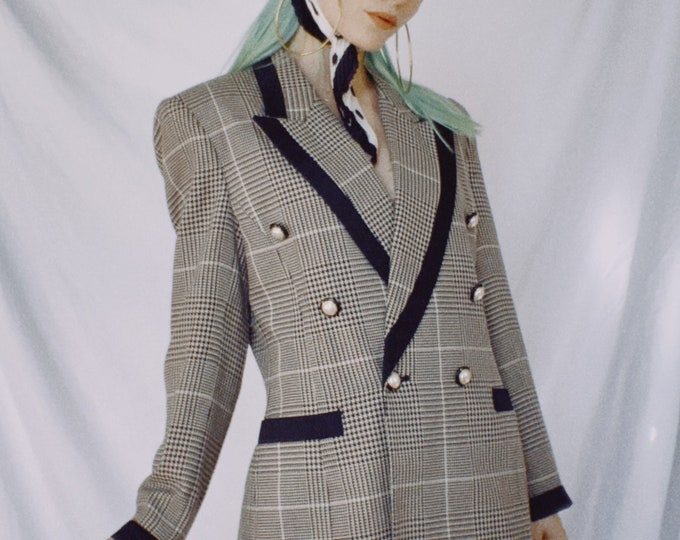 Vintage 80s/90s | Hounstooth Double Breasted Blazer