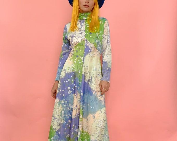 70s Printed A-Line Dress