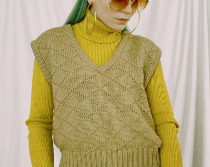 Vintage 80s | Tan Wool Sweater Vest